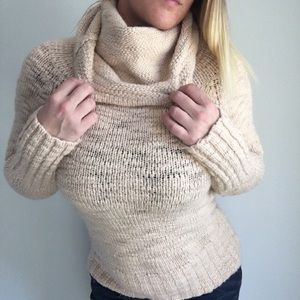 BeBe Cowl Neck Bone Wool Blend Sweater